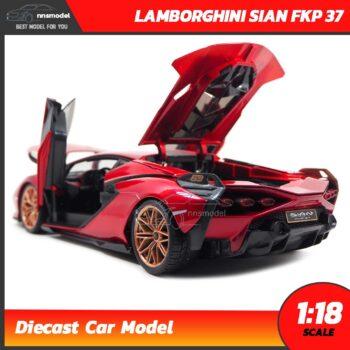 โมเดลรถ LAMBORGHINI SIAN FKP 37 สีแดง (Scale 1:18) โมเดลรถสะสม ประกอบสำเร็จ เปิดฝากระโปรงท้ายได้