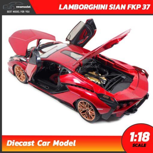 โมเดลรถ LAMBORGHINI SIAN FKP 37 สีแดง (Scale 1:18) โมเดลรถสะสม เครื่องยนต์จำลองเหมือนจริง