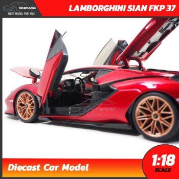 โมเดลรถ LAMBORGHINI SIAN FKP 37 สีแดง (Scale 1:18) โมเดลรถสะสม ภายในรถจำลองเหมือนจริง