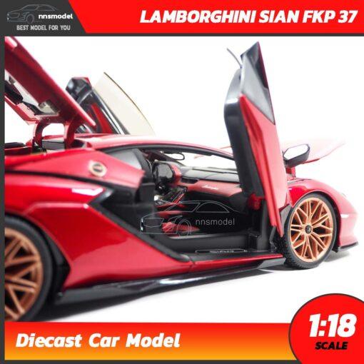 โมเดลรถ LAMBORGHINI SIAN FKP 37 สีแดง (Scale 1:18) โมเดลรถสะสม เปิดประตูปีกนก
