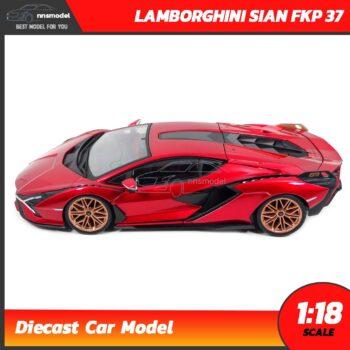โมเดลรถ LAMBORGHINI SIAN FKP 37 สีแดง (Scale 1:18) โมเดลรถสะสม พร้อมตั้งโชว์