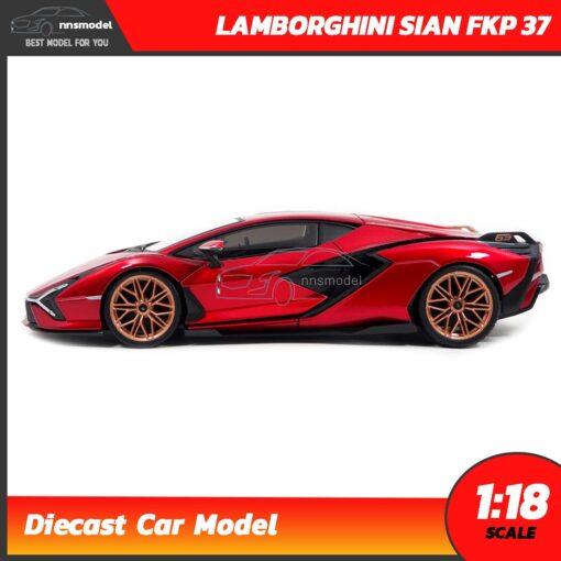 โมเดลรถ LAMBORGHINI SIAN FKP 37 สีแดง (Scale 1:18) โมเดลรถสะสม พร้อมตั้งโชว์ เป็นของขวัญ ของสะสม